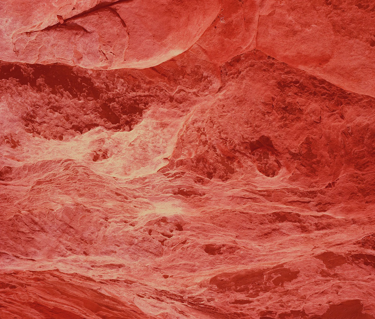 David Benjamin Sherry, <em>Electric Crimson Mountain, Utah</em>, 2012. Traditional Color Darkroom Photograph, 30 × 40 inches. Courtesy of the artist and Salon 94, New York.